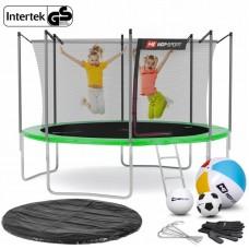 Батут детский Hop-Sport 12ft (366cm) зеленый с внутренней сеткой