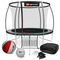 Батут детский Hop-Sport Premium 10ft (305cm) черно-зеленый с внутренней сеткой