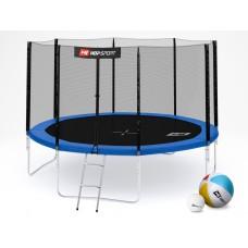 Батут детский Hop-Sport 12ft (366cm) blue с внешней сеткой