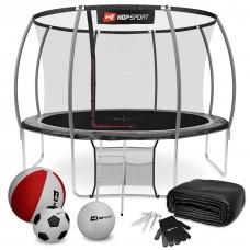 Батут детский Hop-Sport Premium 12ft (366 cm) черно-серый с внутренней сеткой