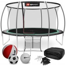 Батут детский Hop-Sport Premium 14ft (427 cm) черно-зеленый с внутренней сеткой