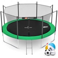 Батут детский Hop-Sport 12ft (366cm) green с внутренней сеткой