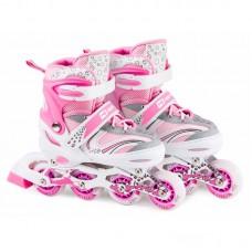 Роликовые коньки 3в1 Hop-Sport HS-8101 Speed M (размер) розовые
