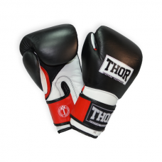 Боксерские перчатки THOR PRO KING 10oz /Кожа /черно-красно-белые