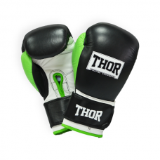 Боксерские перчатки THOR TYPHOON 10oz /Кожа /черно-зелено-белые