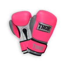 Перчатки боксерские THOR TYPHOON 12oz /Кожа /розово-бело-серые