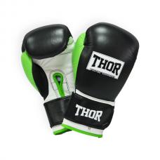 Боксерские перчатки THOR TYPHOON 12oz /Кожа /черно-зелено-белые