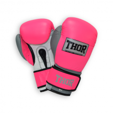 Перчатки боксерские THOR TYPHOON 16oz /Кожа /розово-бело-серые