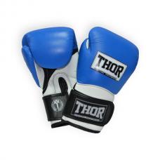 Боксерские перчатки THOR PRO KING 14oz /Кожа /сине-бело-черные