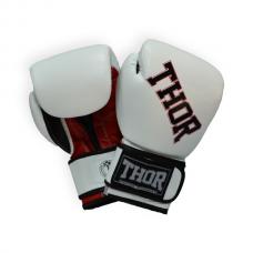 Боксерские перчатки THOR RING STAR 16oz /Кожа /бело-красно-черные