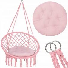 Подвесное кресло-качели (плетеное) с подушкой Springos SPR0029 Pink