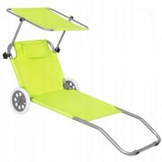 Шезлонг (лежак) для пляжа, террасы и сада с колесами и навесом Springos GC0043