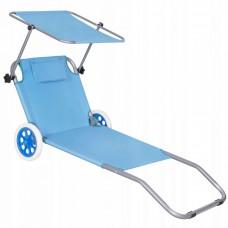 Шезлонг (лежак) для пляжа, террасы и сада с колесами и навесом Springos GC0045