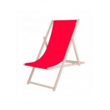 Шезлонг (кресло-лежак) деревянный для пляжа, террасы и сада Springos DC0001 RED