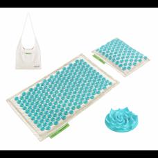 Аккупунктурный массажный коврик с валиком 4FIZJO Eco Mat Аппликатор Кузнецова 68 x 42 см 4FJ0177 White/Sky Blue