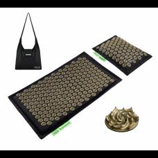 Аккупунктурный массажный коврик с валиком 4FIZJO Eco Mat Аппликатор Кузнецова 68 x 42 см 4FJ0179 Black/Gold