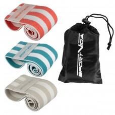 Резинка для фитнеса и спорта тканевая SportVida Hip Band 3 штуки SV-HK0363