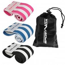Резинка для фитнеса и спорта тканевая SportVida Hip Band 3 штуки SV-HK0364