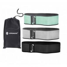 Резинка для фитнеса и спорта тканевая Springos Hip Band 3 шт FA0112