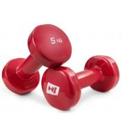 Набор виниловых гантелей для фитнеса круглых 2 x 5 кг Hop-Sport HS-V005DC Красный