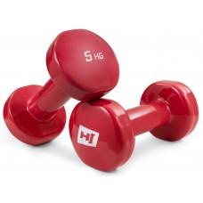 Набор виниловых гантелей для фитнеса круглых 2x5 кг Hop-Sport HS-V005DC Красный
