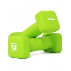 Гантели для фитнеса неопреновые квадратные 1,5 кг LiveUp LS2002-SQ15