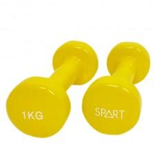Гантели для фитнеса виниловые 2 х 1 кг SPART DB2113-1Yellow