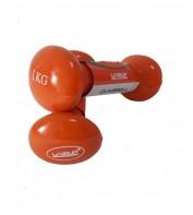 Гантели для фитнеса  2 х 1 кг LiveUp VINYL DUMBBELL EGG HEAD LS2001-1