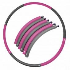Хулахуп обруч для похудения массажный 90 см 0,7 кг SportVida SV-HK0215 Grey/Pink