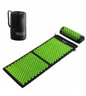 Аккупунктурный массажный коврик с валиком 4FIZJO Аппликатор Кузнецова 128 x 48 см 4FJ0048 Black/Green