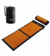 Аккупунктурный массажный коврик с валиком 4FIZJO Аппликатор Кузнецова 128 x 48 см 4FJ0049 Black/Orange