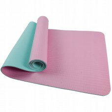 Коврик (мат) для йоги и фитнеса SportVida TPE 4 мм SV-HK0239 Pink/Sky Blue