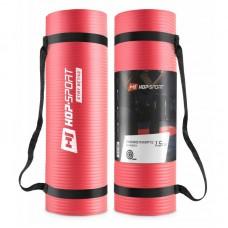 Коврик для фитнеса и йоги Hop-Sport HS-N015GM 1,5 см красный