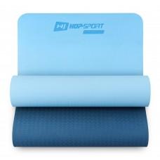 Коврик для фитнеса и йоги Hop-Sport TPE 0,6 см HS-T006GM сине-голубой