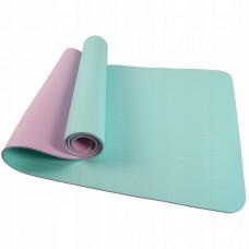 Коврик (мат) для йоги и фитнеса SportVida TPE 4 мм SV-HK0240 Sky Blue/Pink