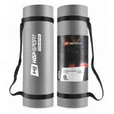 Коврик для фитнеса и йоги Hop-Sport HS-N015GM 1,5 см серый
