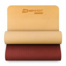 Коврик для фитнеса и йоги Hop-Sport TPE 0,6 см HS-T006GM оранжево-красный