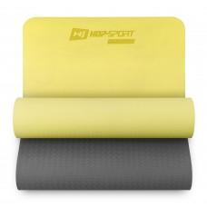 Коврик для фитнеса и йоги Hop-Sport TPE 0,6 см HS-T006GM желто-серый