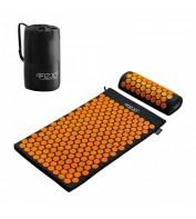 Аккупунктурный массажный коврик с валиком 4FIZJO Аппликатор Кузнецова 72 x 42 см 4FJ0042 Black/Orange