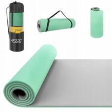 Килимок (мат) для йоги та фітнесу 4FIZJO TPE 1 см 4FJ0202 Mint / Grey
