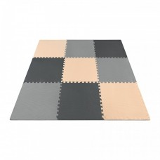 Напольное покрытие для спортзала мат-пазл (ласточкин хвост) 4FIZJO Mat Puzzle EVA 180 x 180 x 1 cм 4FJ0158 Black/Grey/Biege