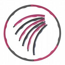 Хулахуп обруч для похудения массажный SportVida 100 см 1.2 кг SV-HK0156-2 Grey/Pink