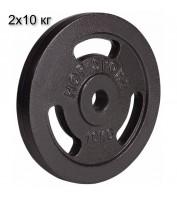 Сет из металлических дисков Hop-Sport Strong 2 x 10 кг d - 30 мм