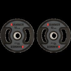 Олимпийские диски для штанги профессиональные Hammer PU Weight Discs 2 х 10 кг d - 50 мм