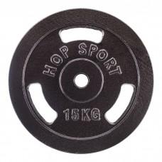 Блин для штанги металлический Hop-Sport 15 кг d - 30 мм