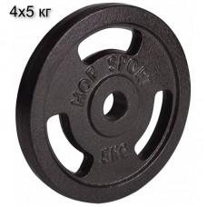 Сет из металлических дисков Hop-Sport Strong 4 x 5 кг d - 30 мм
