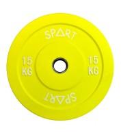 Бамперный диск для штанги 15 кг  d - 50 мм SPART PL42-15