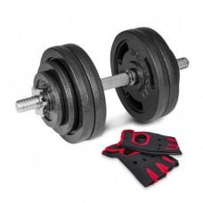 Гантеля металлическая Hop-Sport New 30 кг с перчатками