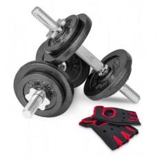 Гантели металлические Hop-Sport New 2 х 10 кг с перчатками