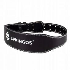Пояс для тяжелой атлетики и пауэрлифтинга Springos FA0119 M Black